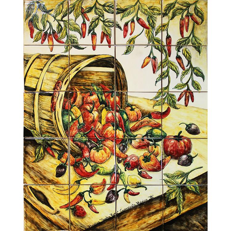 chili harvestmajolica tile mural