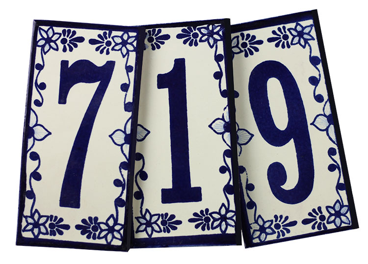 mexican tile house numbers blue