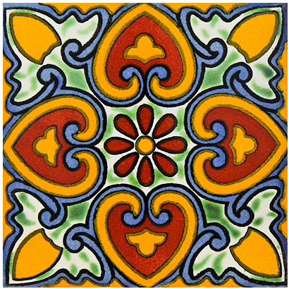 mexican tile backsplash bright