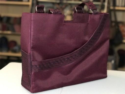 hadiah handmade handbag in burgundy and black embroidery by Laga
