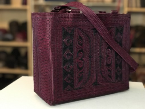 selalu handmade handbag in burgundy and black embroidery by Laga