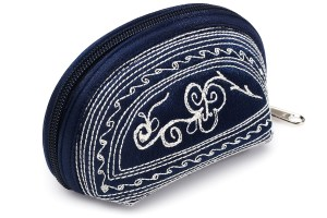 tari handmade coin purse in dark blue and cream embroidery by Laga