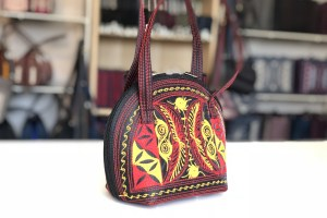 pagi small handmade handbag in black red yellow
