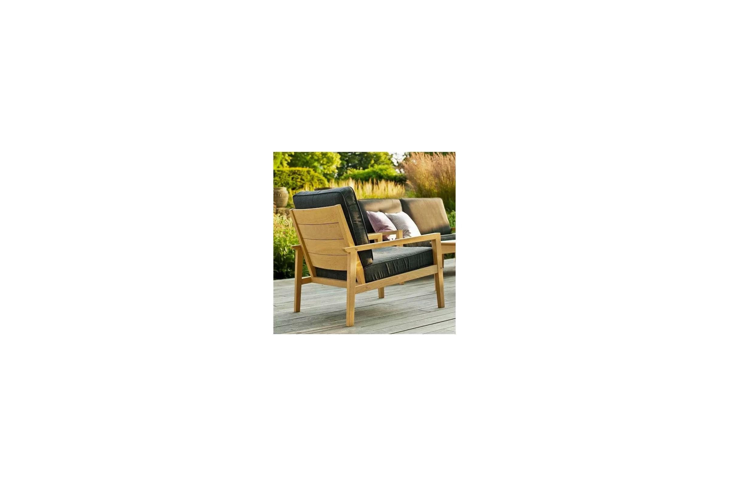 fauteuil de salon de jardin en bois avec coussin gris fonce haut de gamme