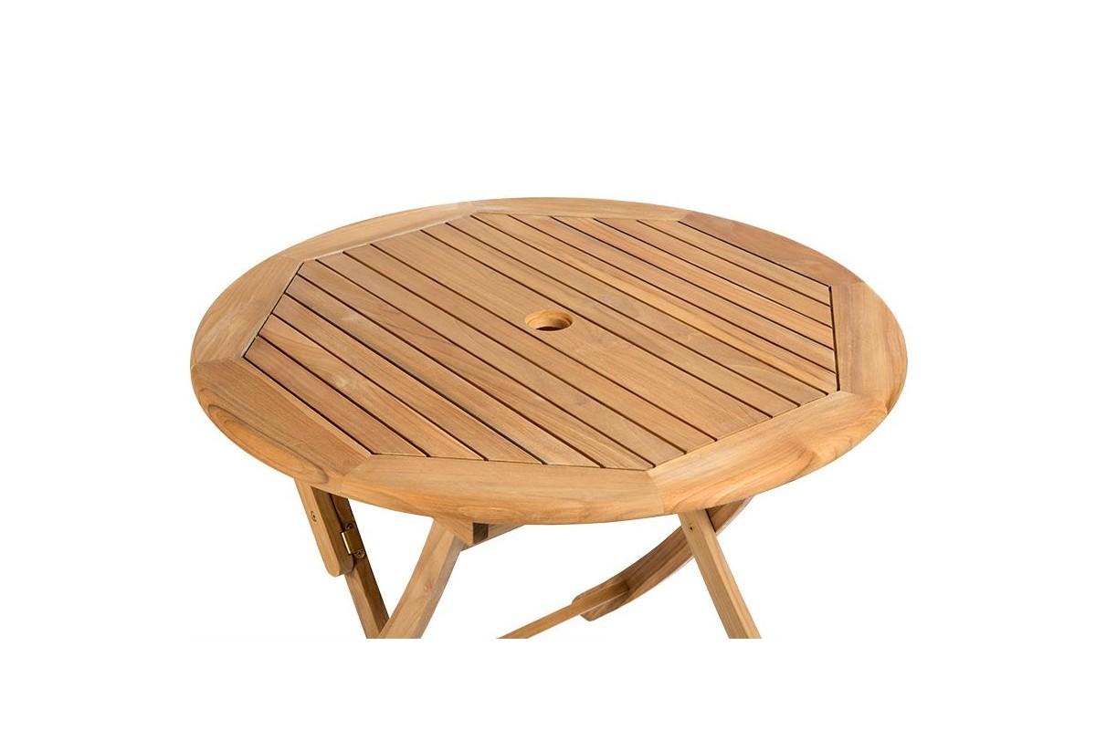 Table Ronde 90 Cm Pliante En Teck Massif Ora La Galerie