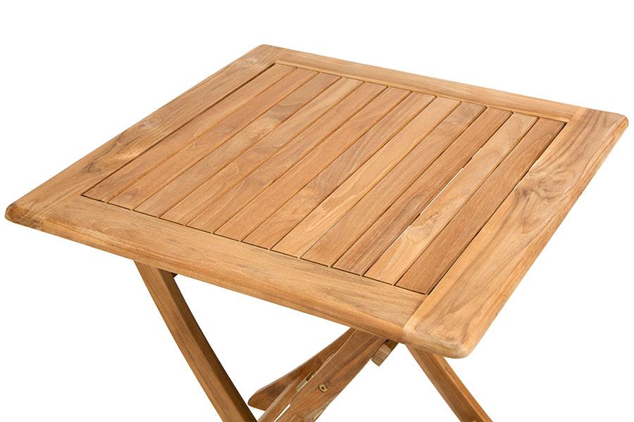 petite table carree 70 cm pliante en teck massif avignon