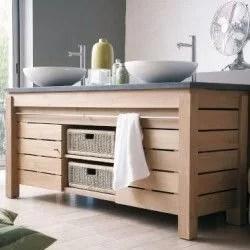 meuble de salle de bain en teck et