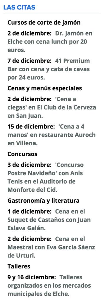 Gastro Agenda de diciembre 2016