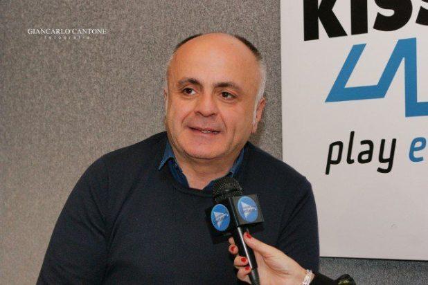 Intervista a Pippo Pelo a Radio Kiss Kiss. Foto Giancarlo Cantone.