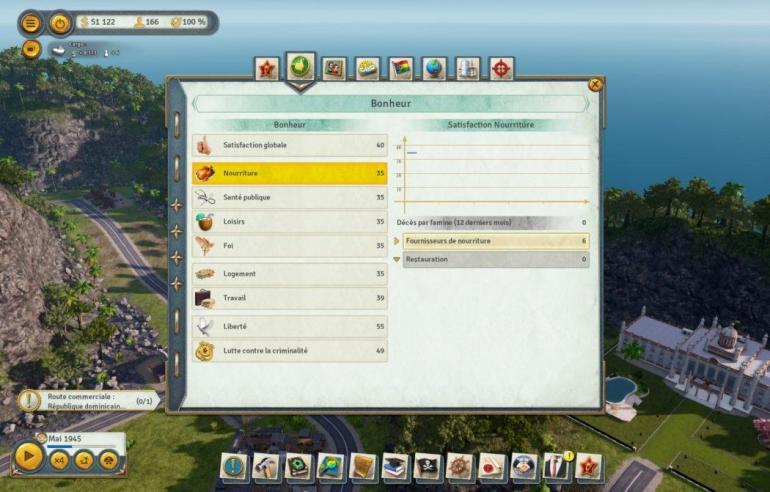 Tropico 6 filtres almanach bonheur nourriture Kalypso AK&CO jeu de gestion simulation dictature