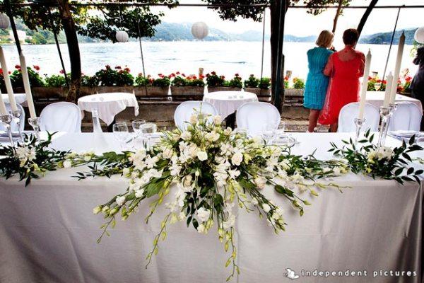 centrotavola per tavolo sposi  matrimonio Ristorante San Giulio