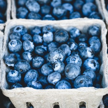 A basket full of blueberries.