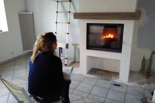 Blanche et la nouvelle cheminee