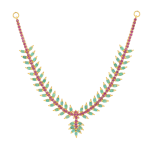 Gold Necklace with Emerald And Rubies