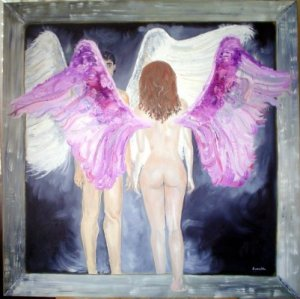 Alado eternal 100 x 100 oleo sobre lienzo