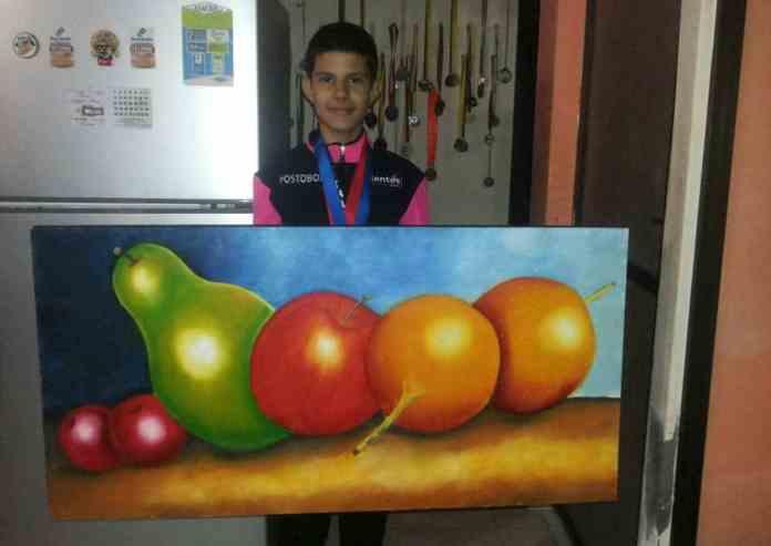Jader Negrete y su pintura en lienzo
