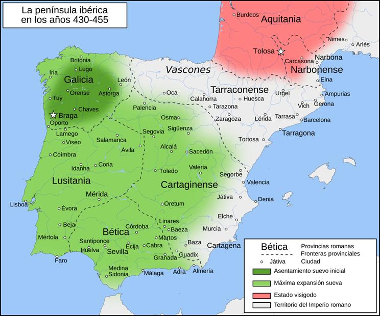 Mapa de Hispania años 430-455
