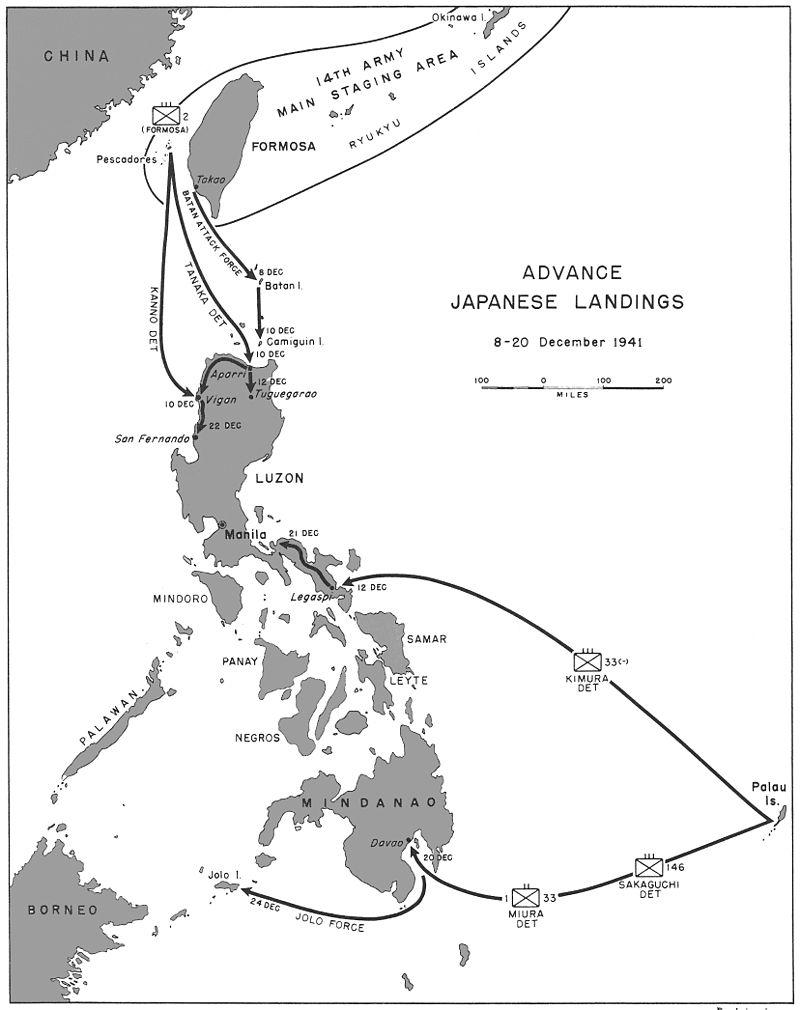Avance de las tropas japonesas sobre Filipinas en diciembre de 1941