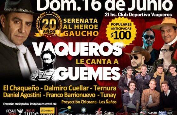 Vaqueros presentará la 20º edición de la Serenata al Héroe Gaucho