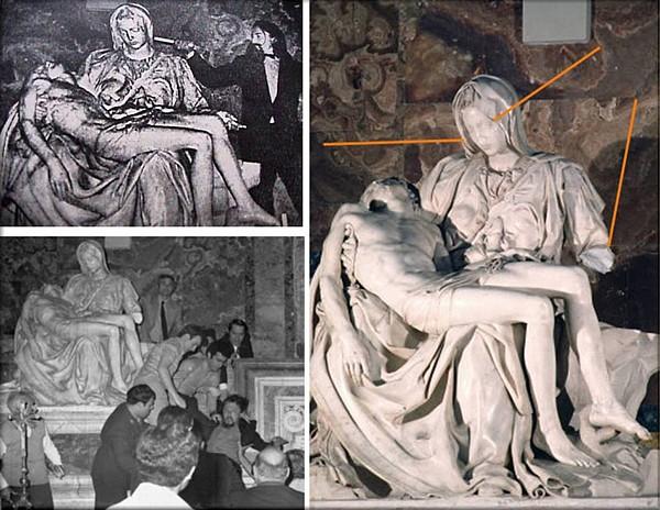 Resultado de imagen para Fotos del demente que martilló el rostro de la Virgen de la Piedad