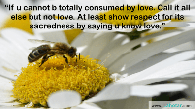 If u cannot b totally consumed by love…