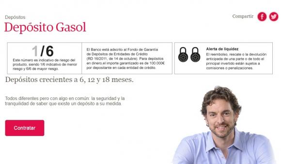 Depósito creciente Gasol.