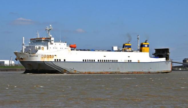CELESTINE. Rakennettu 1996, Japani. 162x25m. Syväys 6,5m. Pääkoneet 2x MAN-B&W 7L40/54 9840 KW. Autoja 635 kpl. Cobelfret Ferries, Belgia. Lippu: Malta