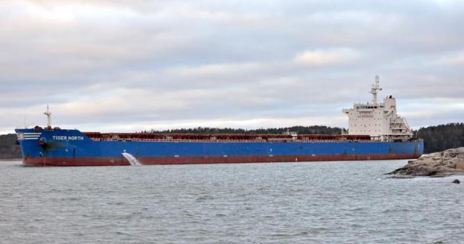 TIGER NORTH. Rakennettu 2013, Kiina. 225x32m. Syväys 12,2m. Greathorse International Shipmanagement, Kiina. Lippu: Hong Kong.