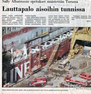 Tulipalo Kalypson rakennusvaiheessa, Turun telakalla Aamulehti 24.3.1990