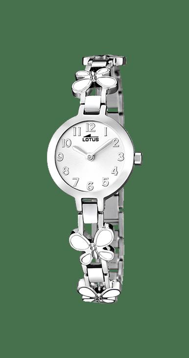 Reloj para niña lotus con mariposas esmaltadas en blanco