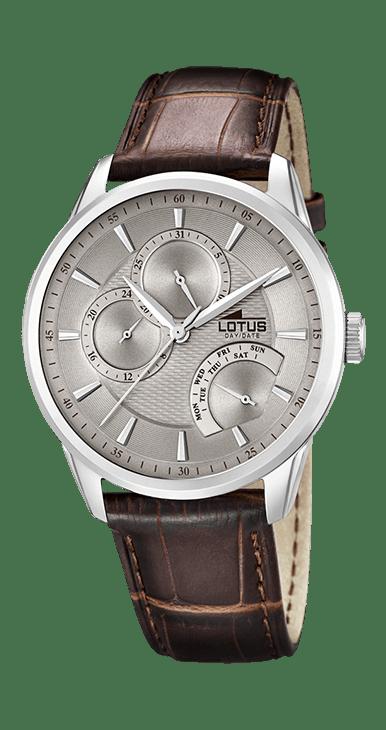 Reloj lotus hombre correa de piel y esfera gris
