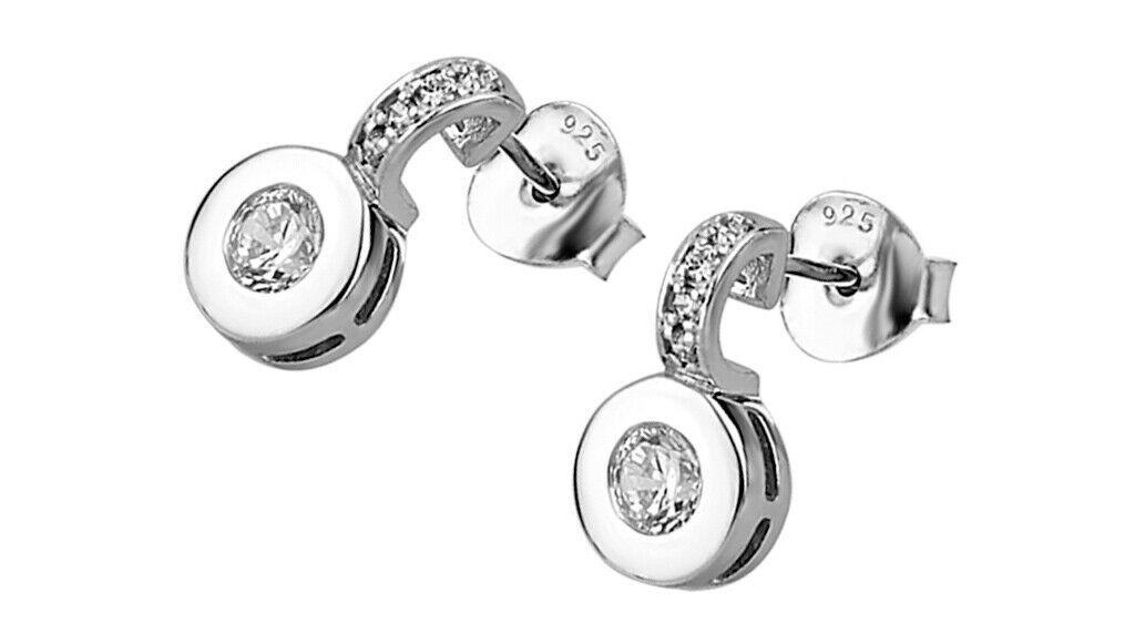Pendientes plata pequeñitos con cierre de presion y una circonita