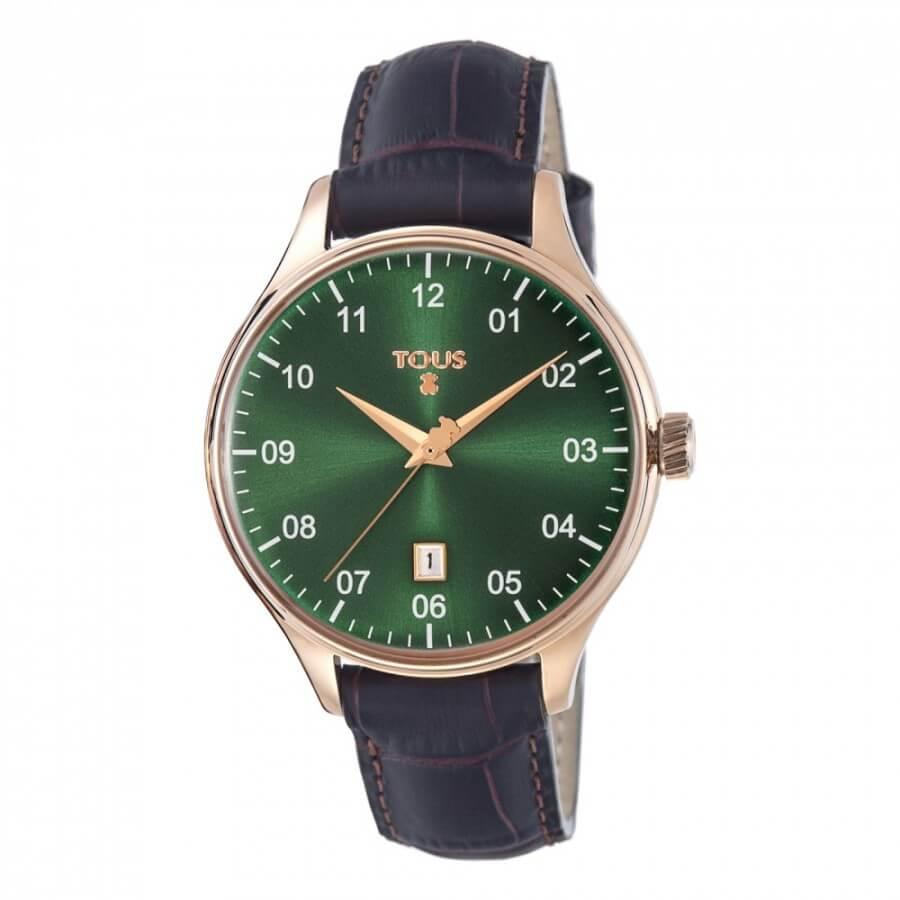 Reloj tous mujer con caja de acero de 40 mm y fondo de la esfera en color verde. Dispone de calendario