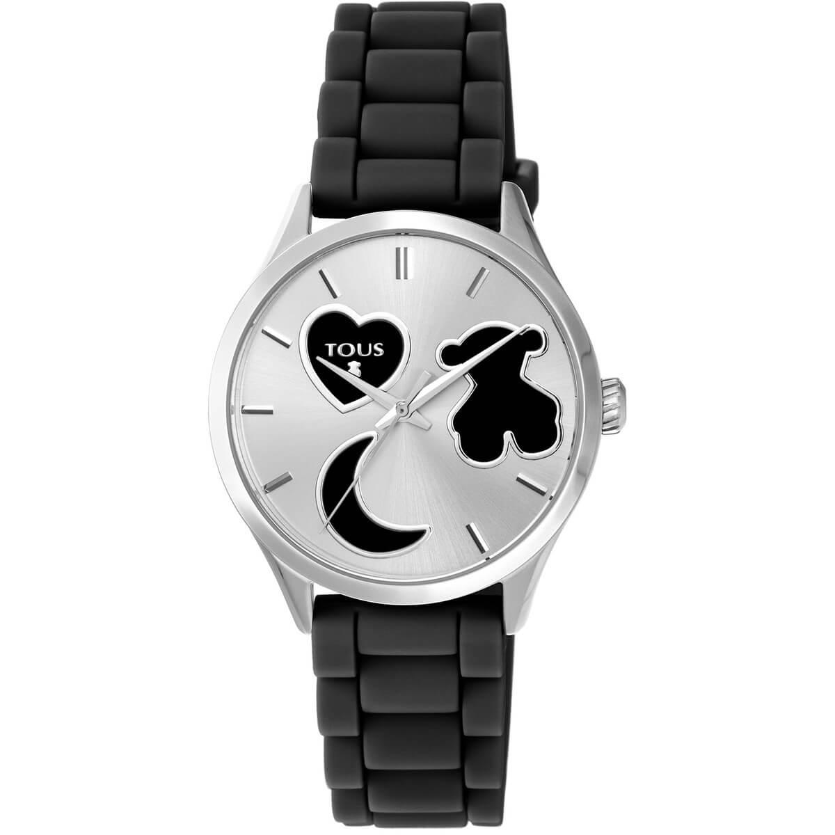 Reloj TOUS con correa de caucho y caja en acero de 37 mm de diametro. Resistente al agua hasta 50 metros. Fondo de la esfera con un corazón un oso y una media luna.