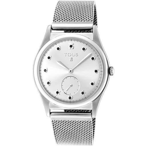 Reloj tous cadena de malla de acero con fondo de la esfera en color plata siendo los indices diferentes motivos de la marca con una piedrecita negra al centro. Diametro de la caja 37 mm