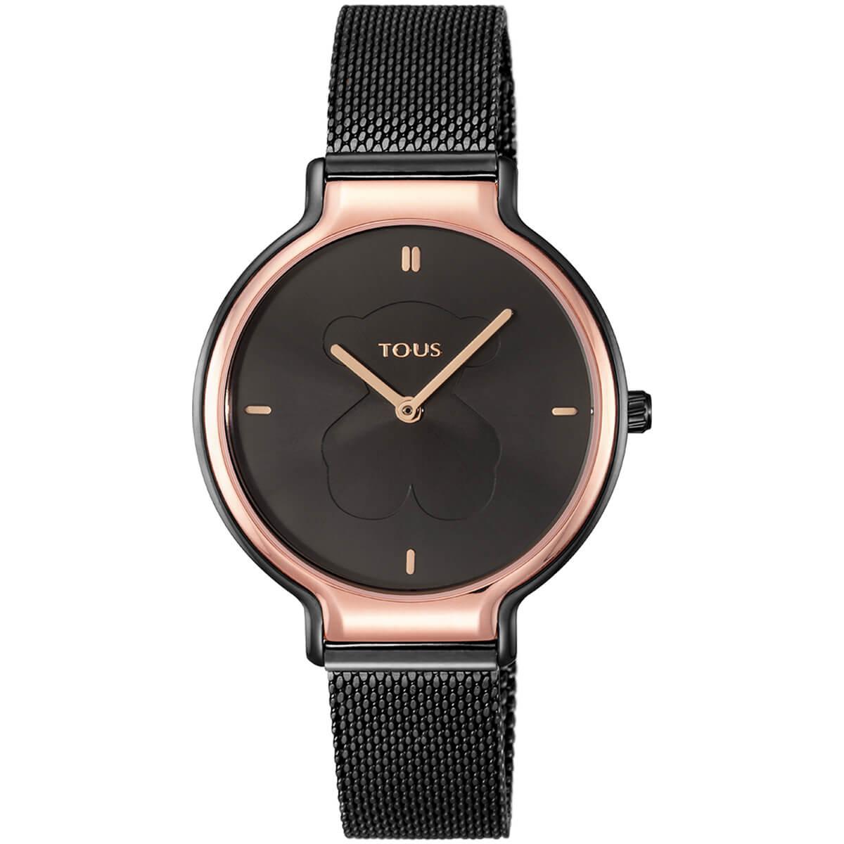Reloj Tous con cadena de malla negra y bisel de la esfera en color rosa. Indices y agujas en color rosa