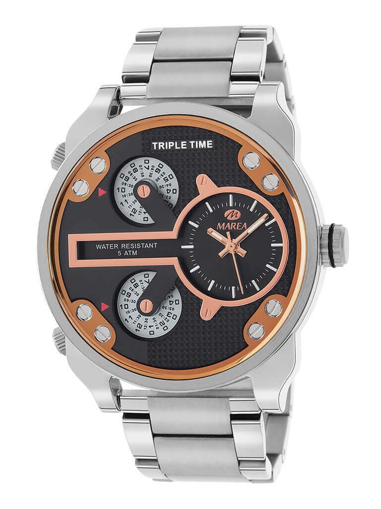 Reloj hombre marea con esfera negra y un diametro de la caja de 48 mm. Dispone de triple horario