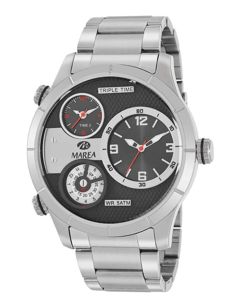 reloj hombre acero marea de acero con esfera negra y gris. Diametro de 48 mm