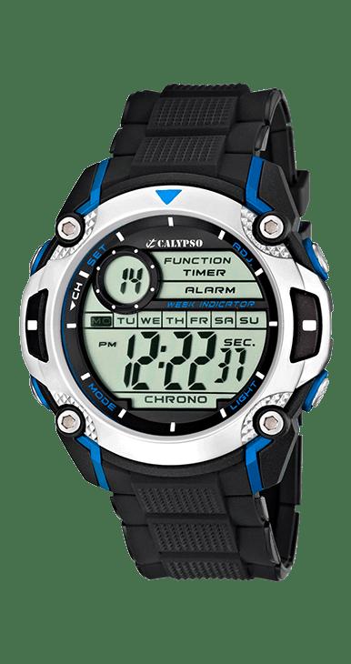 Reloj deportivo digital de la marca calypso, resistente al agua, con cronografo, alarma y luz