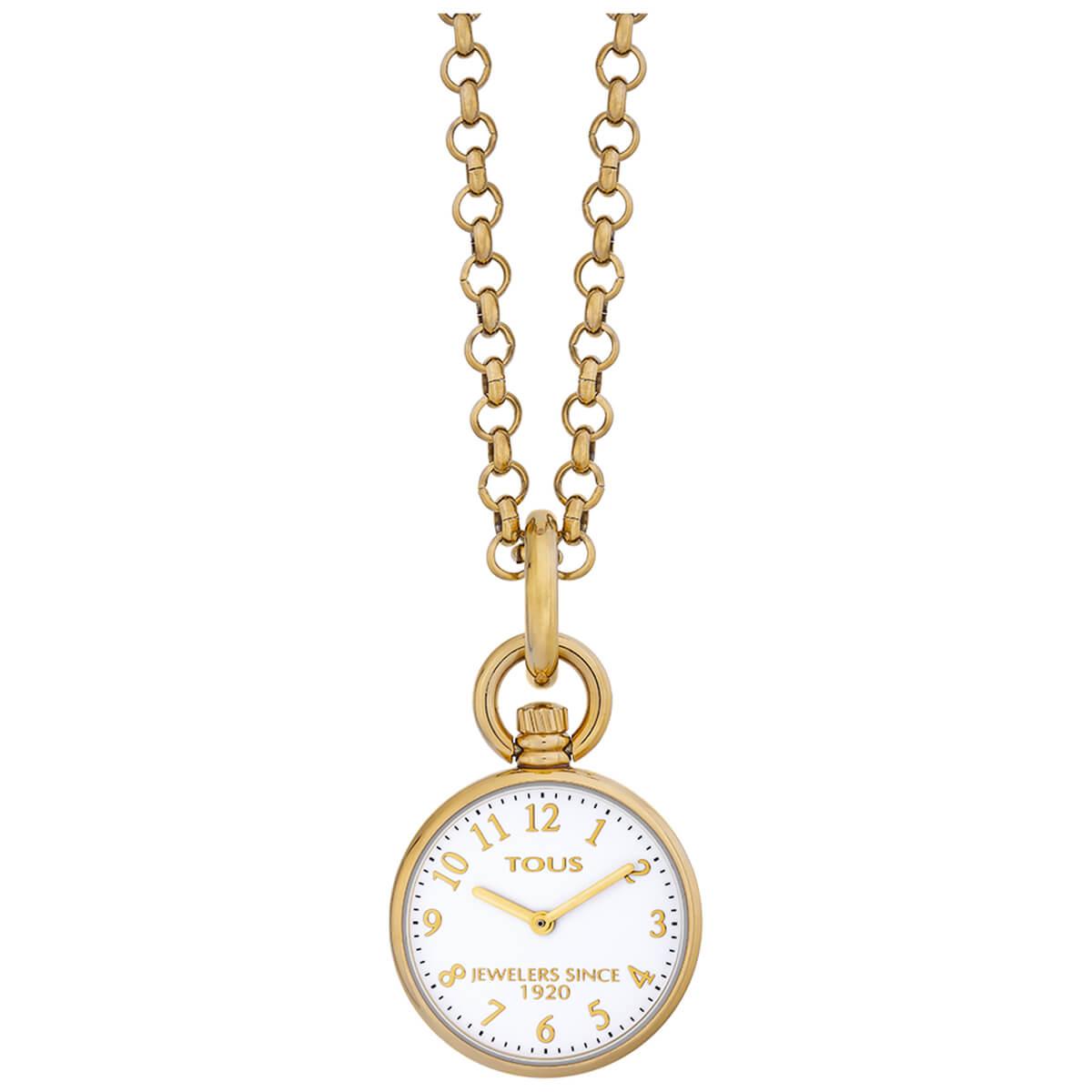 Collar Tous reloj 000351585 con cadena mallorquina. Al final de la cadena lleva una extension que puedes convertir en pulsera con el reloj. Fondo de la esfera color blanco con los indices y las agujas en color dorado. Diametro de la caja 30 mm. Magnífico reloj que puedes combinar tanto como collar como pulsera. TOUS LOVERS.