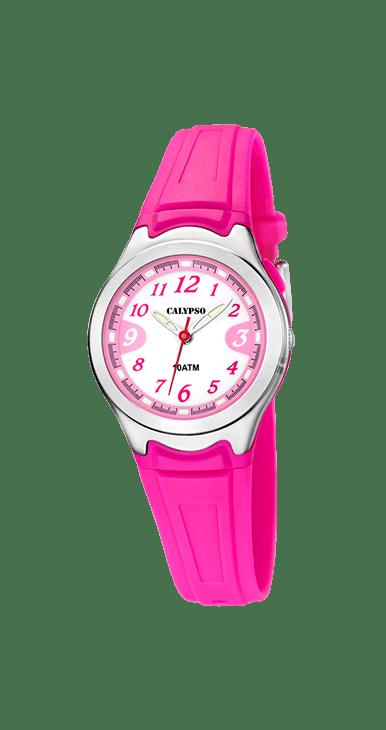 Reloj calypso K6067/3 deportivo , ideal para que te acompañe en el día a día. Resistente al agua hasta 100 metros. Fondo de la esfera color blanco con los números en color rosa. Incorpora Luz. Un todo terreno que viene de la mano del grupo LOTUS-FESTINA.