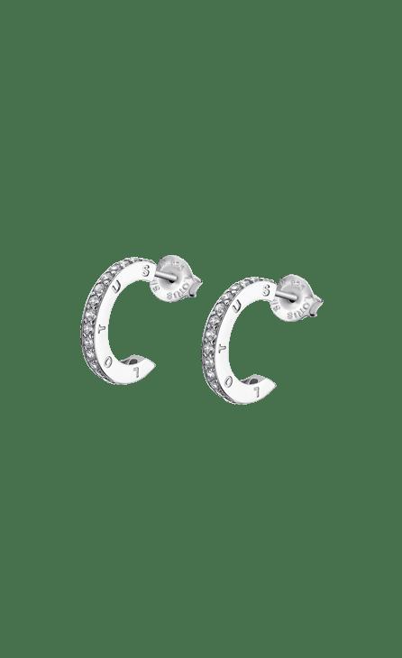 Pendiente mujer plata LP1885-4/1 Lotus Silver. Aros abiertos de 16 mm de diametro adornados con circonitas. Pendientes para un público actual , dinamico y acorde con las nuevas tendencias del look urbano. Y por supuesto de plata de ley.