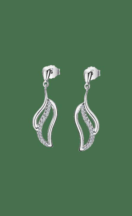 Pendientes plata mujer LP1912-4/1 Lotus Silver con forma de hoja en movimiente con circonita. Cierre de presión. Frescura, ímpetu, arrogancia…, Absorbe la magia de la plata aliada con los diseños más urbanos y contemporáneos.