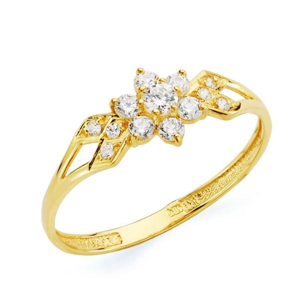 Anillo oro flor de circonita 18 Kte SO1/20681-2. Sencillo anillo en oro amarillo de oro de 18 Kte que combina a la perfección en su diseño el equilibrio y la sutileza. Todos nuestros árticulos de joyería vienen debidamente contrastados por los más prestigiosos laboratorios de metales preciosos Españoles.