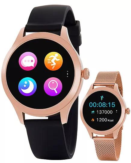 Reloj Marea Smartwatch B59005/1 Rosa Reloj Marea Smartwatch B59005/1 Rosa nuevo modelo de la colección Smartwatch de marea con una panatalla de 1.09 pulgadas, bateria de 180 mAh ( tres días de uso normal y 8 días en standby). Tamaño de la esfera de 38 mm y una impermeabilidad IP68. El reloj cuenta con dos correas, una de caucho negra y otra de acero de malla milanesa acabada en rosa. Puedes leer las instrucciones del reloj AQUÍ Entre las distintas funciones se encuentran: Calorias consumidas Distancia recorrida Paso Establecer meta de paso Monituorización del sueño Frecuencia cardiaca Prueba automática FC Presión sanguínea Oxígeno en sangre Ciclo Menstrual Modo Sport Recordatorio Sedentario y para beber agua Notificación de llamadas Notificaciones RRSS ( Facebook, instagram, etc) Leer mensajes recibidos Alarmas Cronógrafo Impermeable Control remoto música y camara Elegir pantalla de inicio Encontrar reloj.