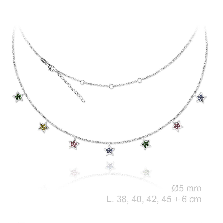Collar estrellas Piedra de color Nsp/174993 plata Collar estrellas Piedra de color Nsp/174993 plata de ley. Esta formado por colgantes en forma de estrella todos ellos cuajados de circonitas de colores, el diametro de cada colgante es de 5 mm. El collar cuenta con la posibilidad de graduar la medida entre 38,40,42 y 45 cm. Además cuenta con una cadenita de 6 cm con la que podrás llegar hasta los 51 cm. El collar cuenta con una protección para que la plata no se ensucie a la vez que le da un brillo más intenso.