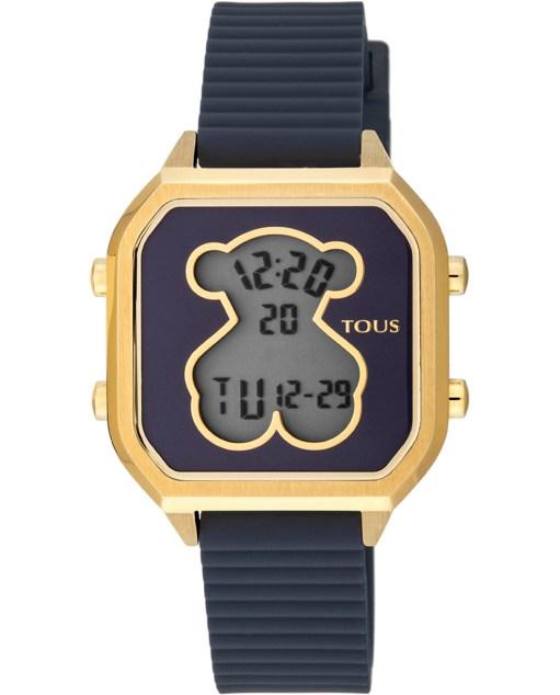 Reloj Tous Dorado 100350390 De Bear correa Caucho Tous reinventa y redescubre la forma de complementar nuestro outfit con modelos jovenes, atractivos y de gran calidad tanto en los materiales como en sus diseños. El reloj esta formado por correa de silicona en color azul marino, fondo de la esfera del mismo color con bisel dorado y caja de acero acabada en dorado. Dispone de movimiento digital con las funciones de alarma, chrono, fecha y día de la semana.