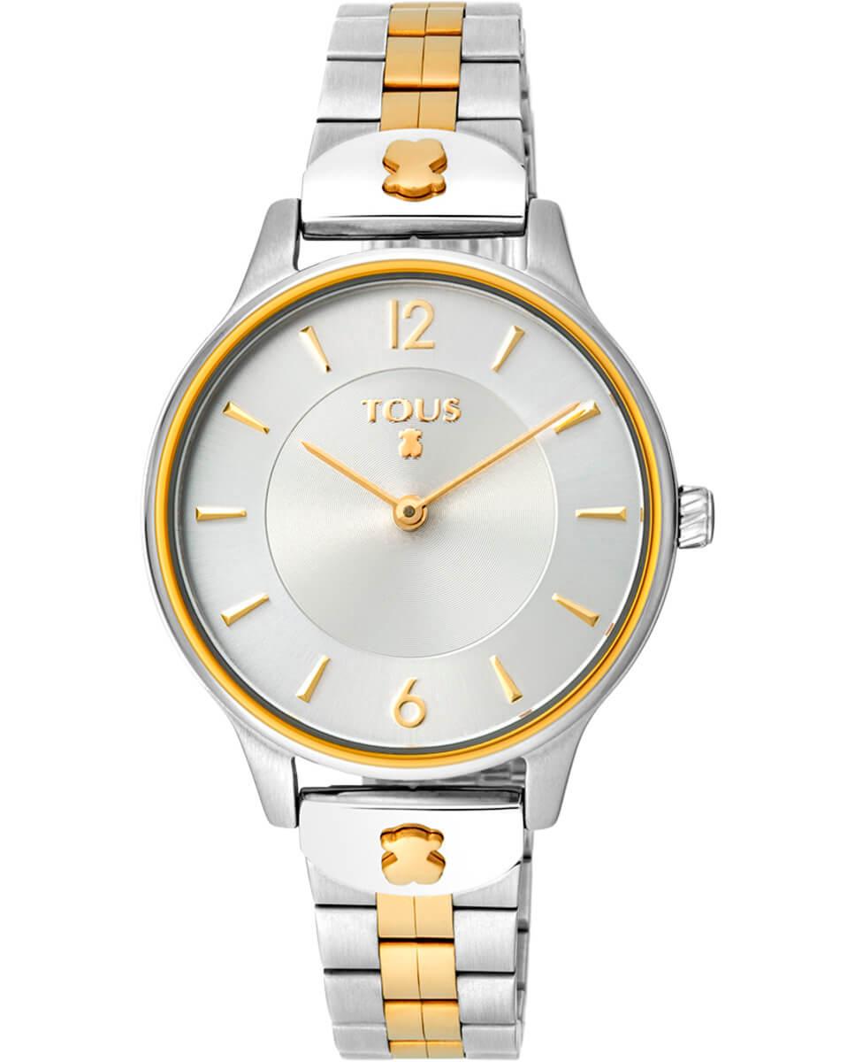 Reloj Tous Bicolor 100350425 Acero Colección Len La apuesta estrella de este años 2021 por parte de la Marca Tous, está formado por cristal mineral, resistente al agua hasta 5 Atm, movimiento de cuarzo analogico y cierre desplegable con pulsadores. Cadena combinada en color dorado al centro y color plata en los extremos. Diámetro de la esfera 33 mm. Función de hora y minutos. Joyería la joyita es distribuidor oficial de la marca TOUS y todos los relojes de se entregarán junto a su caja y garantía oficial. Garantía de dos años.