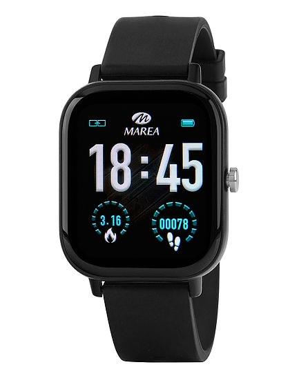 Reloj Marea Smartwatch B58007/1 color Negro, dispone de la siguientes funciones: Frecuencia Cardiaca Presión Sanguinea Oxígeno en sangre Distancia Recorrida Calendario Leer Mensajes Cuenta Pasos Calorias Recordatorio Sedentario Hora Mundial. Para más informacíon y configuración del reloj pulse AQUÍ.