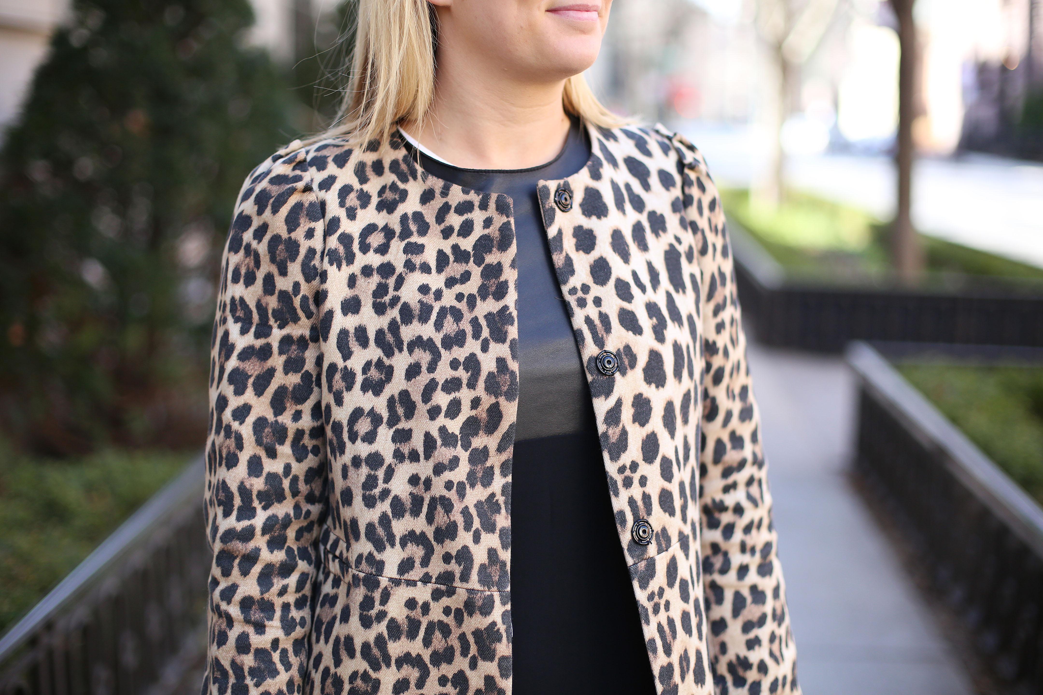 Leopard Jacket and Vince Dress